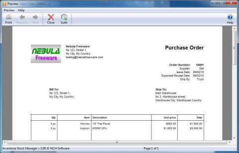 inventoria free stock control software print purchase order
